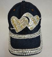 Denim Hat with Bling [Double Hearts] Silver